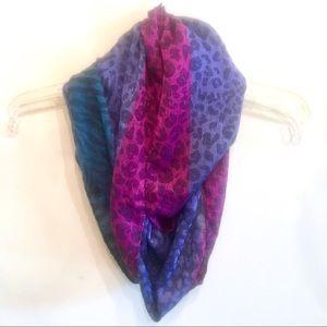 {Animal Print} Purple/Teal/Magenta Infinity Scarf
